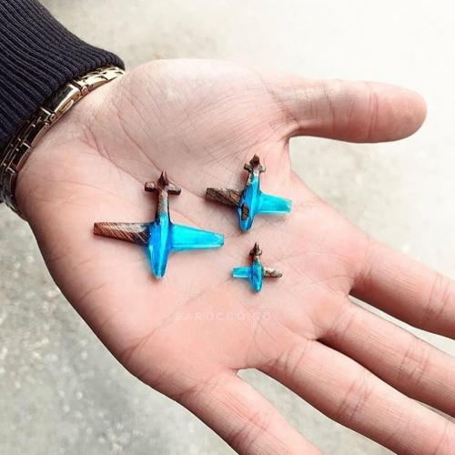 Blue epoxy resin airplanes