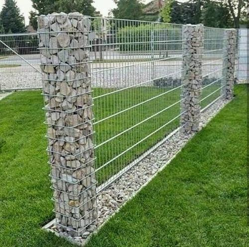 Fence with columns filled with rocks