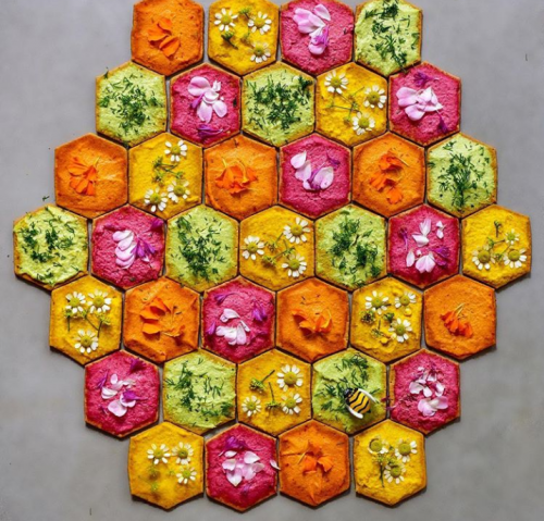 Honeycomb pattern made with crackers and dip
