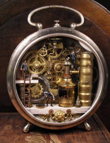 Intricate mechanical world inside a pocket watch