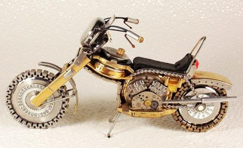 Motorcycle made from recycled watch parts