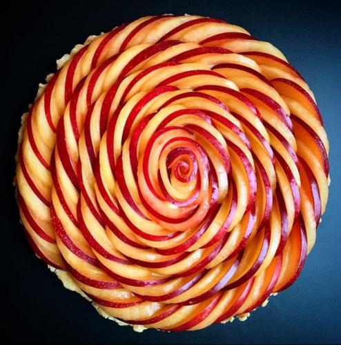 Striped Plum Spiral Tart
